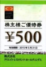クリエイト・レストランツ・ホールディングス株主優待券 500円券