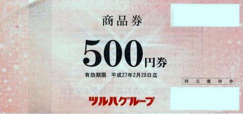 ツルハホールディングス株主優待券 500円券