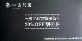 銀座山形屋株主優待券(20%割引券)