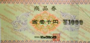 ビックカメラ商品券 1000円券