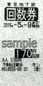 東京メトロ 普通回数券 170円区間