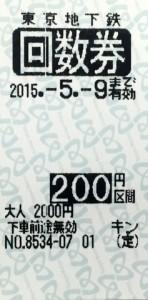 東京メトロ 普通回数券 200円区間