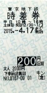 東京メトロ 時差回数券 200円区間