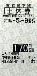 東京メトロ 土休回数券 170円区間