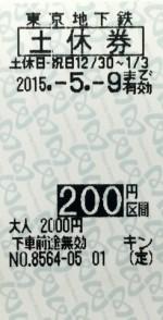 東京メトロ 土休回数券 200円区間