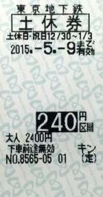 東京メトロ 土休回数券 240円区間