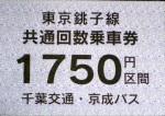 高速バス東京銚子線(千葉交通)共通回数券1750円区間