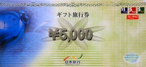 日本旅行ギフト旅行券 5,000円券