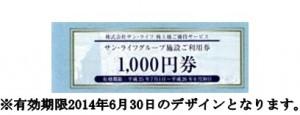 サン・ライフ株主優待券 1000円券