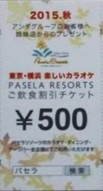 パセラリゾーツ ご飲食割引チケット 500円券