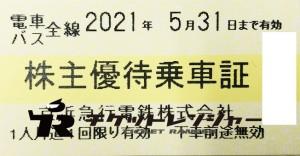 京浜急行(京急)株主優待乗車証(切符タイプ) 2021年5月31日期限