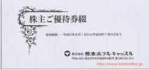 熊本ホテルキャッスル株主優待券 30枚綴り