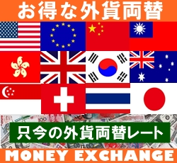 お得な外貨両替実施中 米ドル・中国元・日本円・台湾ドル・ユーロ・香港ドル ただいまの外貨両替取引レート