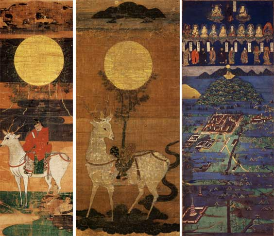 (左)鹿島立神影図 春日大社蔵 (中)鹿座神影図  (右)春日宮曼荼羅  Photo: http://www.pauch.com/