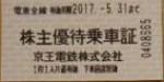 京王電鉄株主優待乗車証 2017年5月31日期限