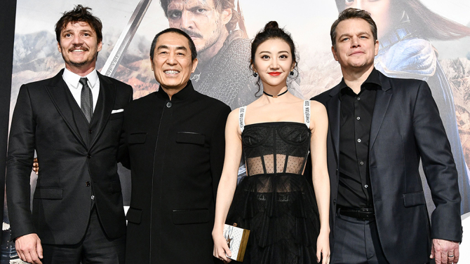 Mandatory Credit: Photo by Rob Latour/REX/Shutterstock (8390984di) Zhang Yimou, Pedro Pascal, Jing Tian and Matt Damon 'The Great Wall' film premiere, Los Angeles, USA - 15 Feb 2017
