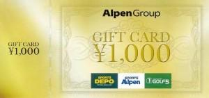 アルペングループギフトカード 1000円券