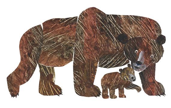 エリック・カール「こぐまくん こぐまくん なに みているの?」表紙原画、2006年、エリック・カール絵本美術館