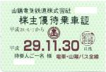 山陽電鉄株主優待乗車証(定期型)電車・乗合バス全線2017年11月30日期限