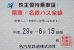 名古屋鉄道(名鉄)株主優待乗車証(定期型)電車バス全線(2017/6/15期限)