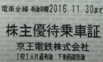 京王電鉄株主優待乗車証(切符タイプ)  2017年11月30日期限