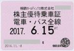 相模鉄道(相鉄)電鉄株主優待乗車証 2017年6月15日期限