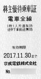 京成電鉄株主優待乗車証(切符タイプ)  2017年11月30日期限