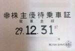 東武鉄道株主優待乗車証(定期型)電車全線2017年12月31日期限