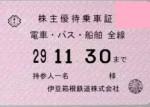 伊豆箱根鉄道株主優待乗車証(定期型)電車バス2017年11月30日期限