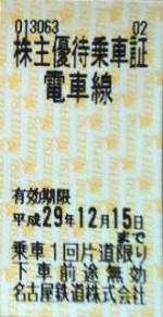 名古屋鉄道(名鉄)株主優待乗車証(切符タイプ) 2017年12月15日期限