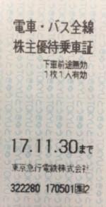 東急電鉄株主優待乗車証(切符タイプ) 2017年11月30日期限