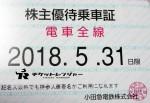 小田急電鉄株主優待乗車証(定期型)電車全線 2018年5月31日期限