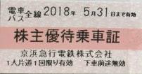 京浜急行(京急)電鉄株主優待乗車証 2018年5月31日期限