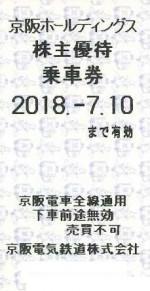京阪電鉄株主優待乗車券(切符タイプ) 2018年7月10日期限