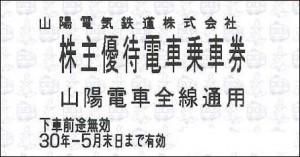山陽電鉄株主優待乗車証 2018年5月31日期限