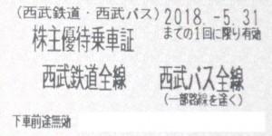 西武鉄道株主優待乗車証 2018年5月31日期限