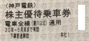 神戸電鉄株主優待乗車証 2018年5月末期限