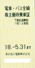 東急電鉄株主優待乗車証 2018年5月31日期限