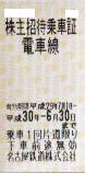 名古屋鉄道(名鉄)株主優待乗車証(切符タイプ) 2018年6月30日期限