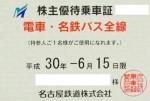 名古屋鉄道(名鉄)株主優待乗車証(定期型)電車バス全線 2018年6月15日期限