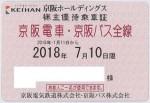 京阪電鉄株主優待乗車証(定期型)電車バス全線 2018年7月10日期限