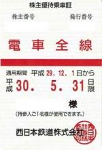 西日本鉄道(西鉄)株主優待乗車証(定期型)電車全線 2018年5月31日期限