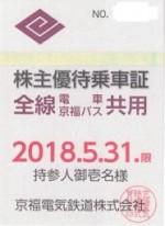京福電気鉄道株主(定期型)電車バス全線 2018年5月31日期限