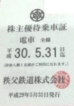 秩父鉄道 株主優待乗車証 電車全線パス