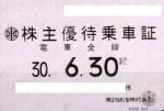 東武鉄道株主優待乗車証(定期型)電車全線 2018年6月30日期限