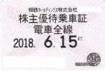 相模鉄道(相鉄)株主優待乗車証(定期型)電車全線 2018年6月15日期限