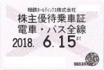 相模鉄道(相鉄)株主優待乗車証(定期型)電車バス全線 2018年6月15日期限