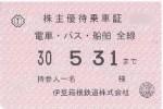 伊豆箱根鉄道株主優待乗車証(定期型)電車・乗合バス・船舶の全線 2018年5月31日期限