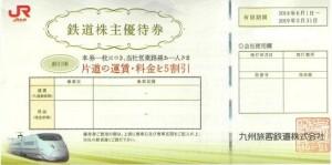 JR九州株主優待券 <2018年6月1日〜2019年5月31日期限>