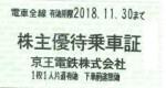 京王電鉄株主優待乗車証(切符タイプ) 2018年11月30日期限